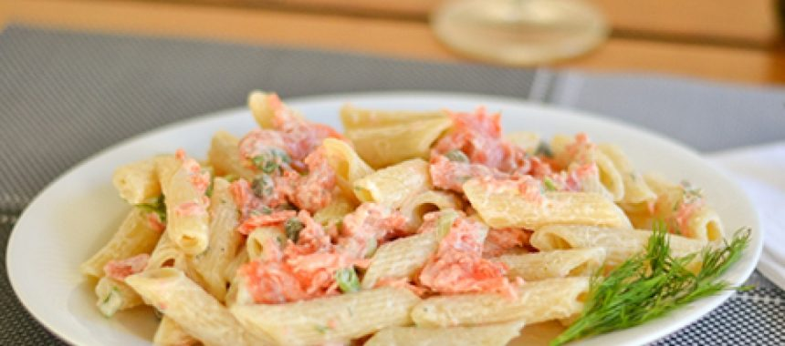 Ziti with Honey Mustard Salmon