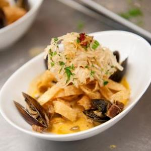 Paella Inspired Seafood Pasta with a Cognac Cream Sauce